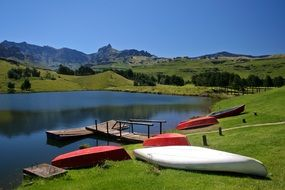 Landscape of the lake and drakensberg mountains, south africa