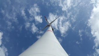 bottom view of a huge wind turbine
