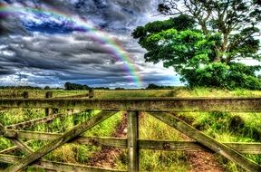 landscape of rainbow in countryside