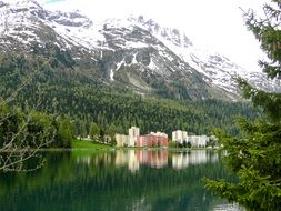 mountain landscape with lake in St. Moritz, Switzerland