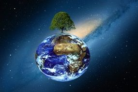 planet with tree on top in space