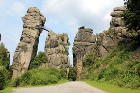 The Externsteine is a distinctive sandstone rock formation located in the Teutoburg