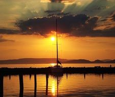 orange sunset over lake Balaton
