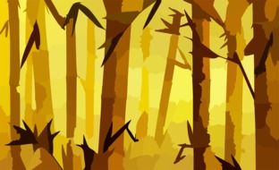drawing of a bamboo forest on a yellow background