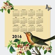 Calendar 2016 on the background of a bird on a branch of apple