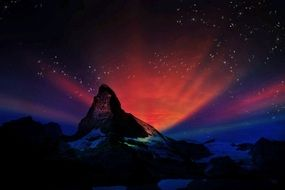 night mystical landscape of the swiss mountains