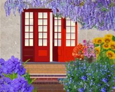 painted red entrance doors and a beautiful blooming garden