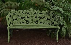 Park bench with patterns