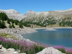 Allos lake near the mountain