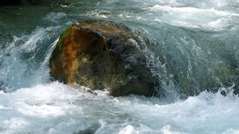 big stones in a mountain river