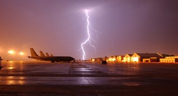 Lightning strike at the aerodrome