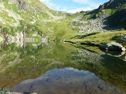 alpine lake near a mountain in austria