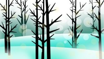 snow forest trees drawing