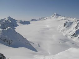 panoramic view of snowy peaks in the alps