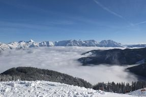 panorama of snowy mountains in the clouds