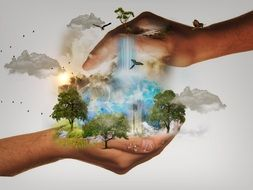 nature protection concept, nature in hands