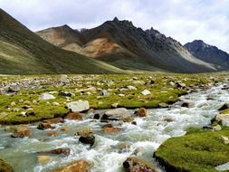 scenic river landscape on the background of the Himalayan mountains