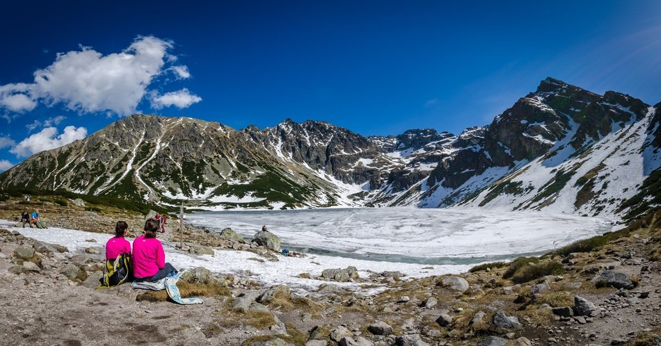 hikers in tatry mountains
