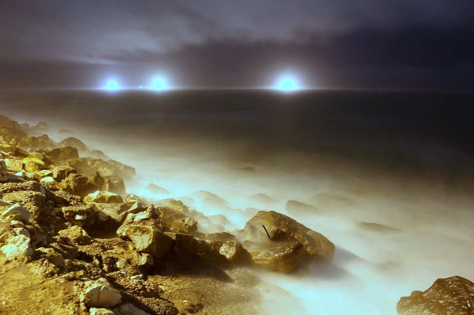 Landscape of sea at night time