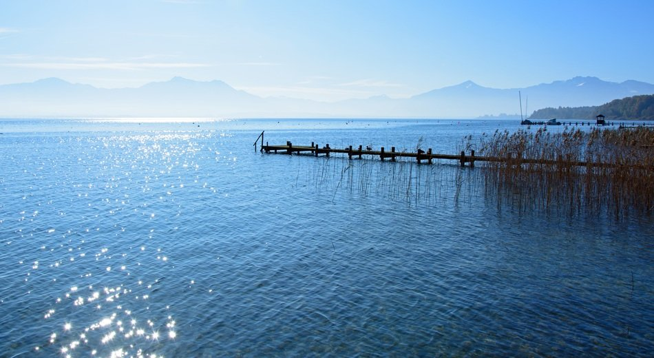brilliant water on lake chiemsee