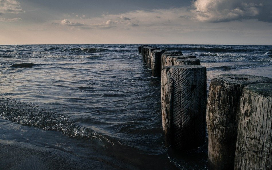 large wooden breakwaters in the Baltic Sea