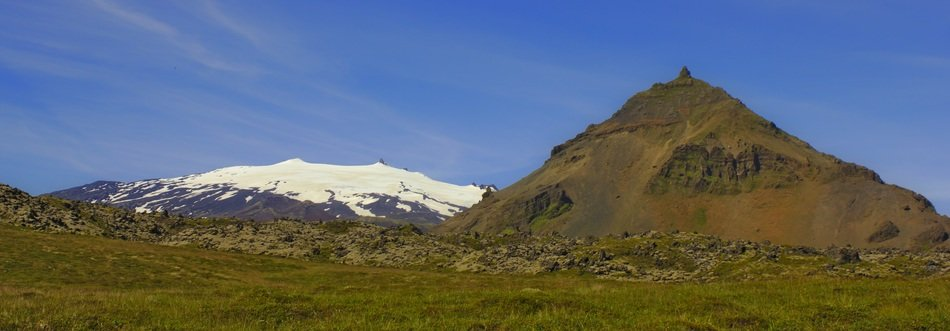 snow volcano mountain summer landscape
