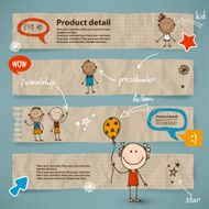 Hand-drawn children and speech bubbles set N3