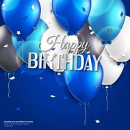 Vector birthday card with balloons and text on blue background