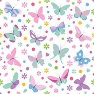 butterflies flowers hearts and dots background
