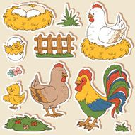 Color set of farm animals and objects vector family chicken