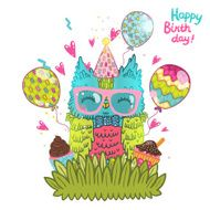 Happy Birthday greeting background with an owl N11