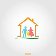 Logo home with a happy family vector