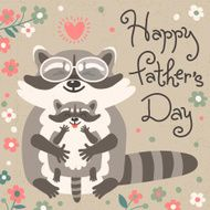 Card with cute raccoons to Fathers Day N2