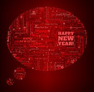 Speech Bubble and New Year on Red Background