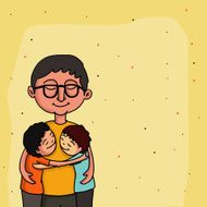 Father with kids Happy Father's Day celebration concept