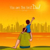 Father's Day greeting card with son and father