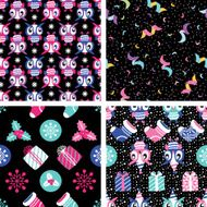 Christmas vector elements set for festive design Seamless background N2