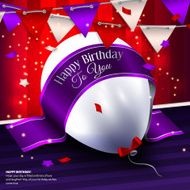 Vector birthday card with balloon bunting flags and ribbon for N2