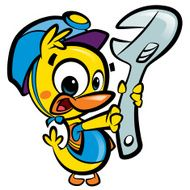 DIY Do it yourself cartoon baby duck plumber fixing plumbing