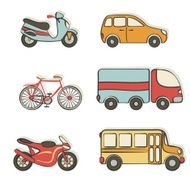 transportation hand drawing icons
