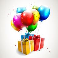 Flying colorful balloons with gifts