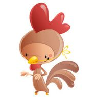 Cartoon Happy Smiling Kid Wearing Funny Carnival Rooster Costume N2