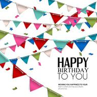 Vector birthday card with confetti and bunting flags N3