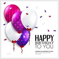 Vector birthday card with balloons and confetti N3