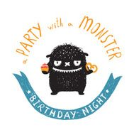 Funny Cute Little Black Monster Birthday Party Greeting Card or