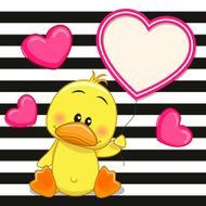 Duck with heart frame