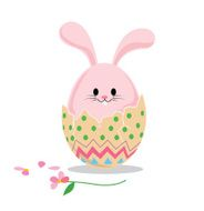 Vector of cute rabbit inside a cracked easter egg