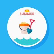 sand buckets flat icon with long shadow on circle background