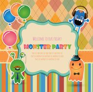 Monster party invitation card design