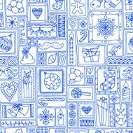 Blue seamless Christmas and New Year pattern N2